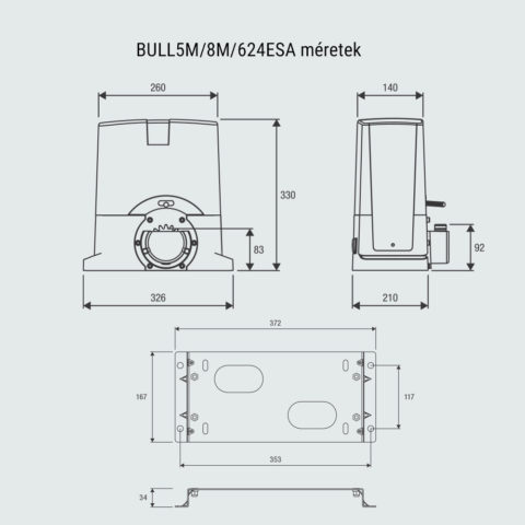 Beninca BULL5, BULL8, BULL624ESA méretei - benincakapunyito.hu