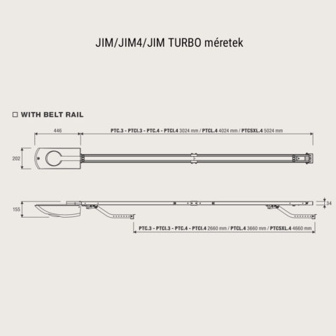 Beninca JIm JIM-SW JIM 4 JIM turbo méretek - benincakapunyito.hu
